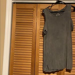 Off shoulder distressed army green top